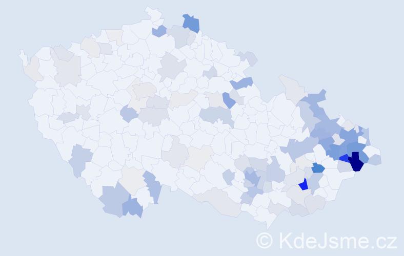 Příjmení: 'Krkoška', počet výskytů 363 v celé ČR