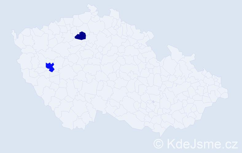 Příjmení: 'Čakarov', počet výskytů 4 v celé ČR