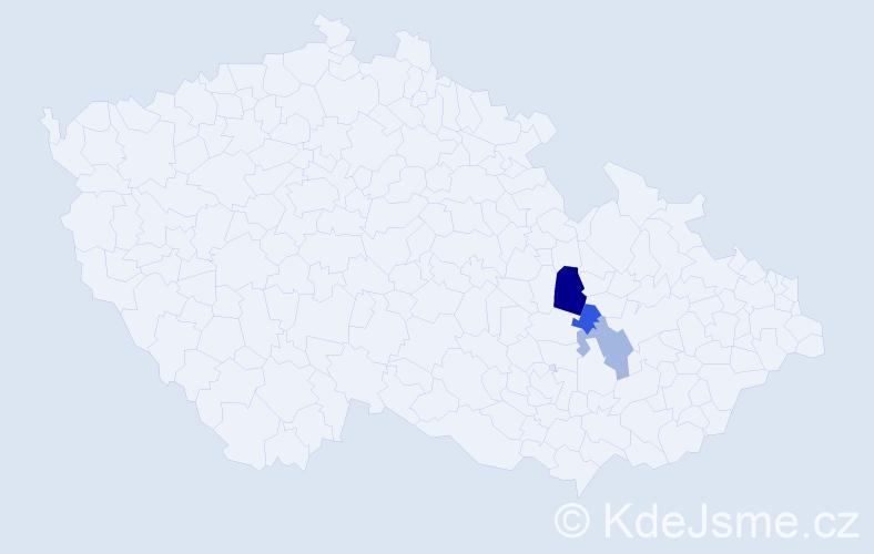 Příjmení: 'Hádr', počet výskytů 7 v celé ČR