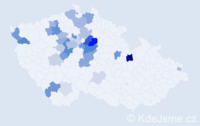 Příjmení: 'Caldová', počet výskytů 84 v celé ČR