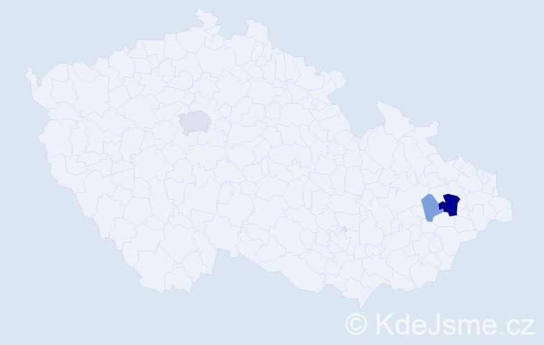 Příjmení: 'Genčiová', počet výskytů 9 v celé ČR