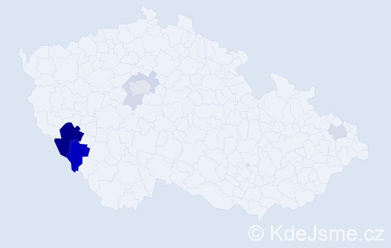 Příjmení: 'Grősslová', počet výskytů 21 v celé ČR