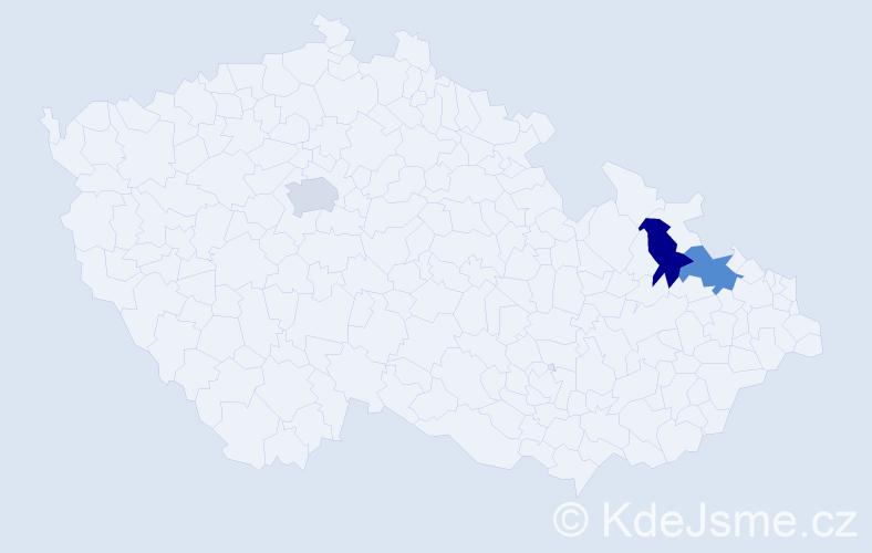 """Příjmení: '""""Hmurčík-Solárová""""', počet výskytů 3 v celé ČR"""
