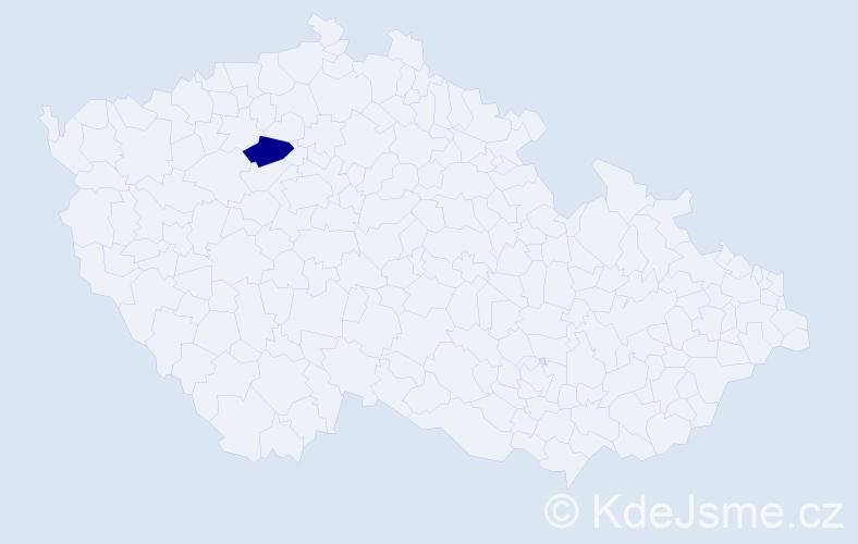 """Příjmení: '""""Esterle Sadílková""""', počet výskytů 1 v celé ČR"""