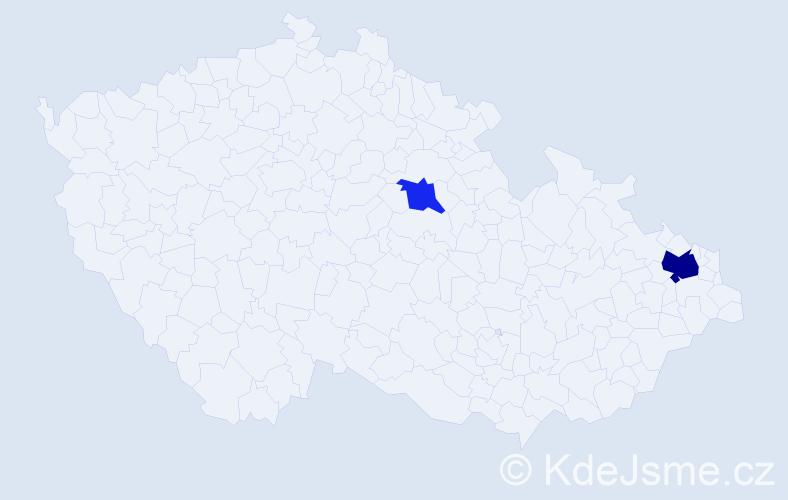 Příjmení: 'Capinský', počet výskytů 8 v celé ČR