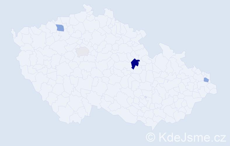 Příjmení: 'Duffy', počet výskytů 5 v celé ČR