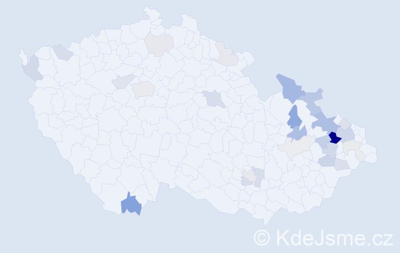 Příjmení: 'Čegan', počet výskytů 78 v celé ČR