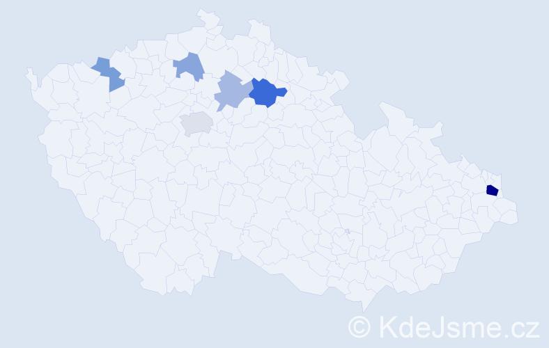 Příjmení: 'Halčáková', počet výskytů 13 v celé ČR