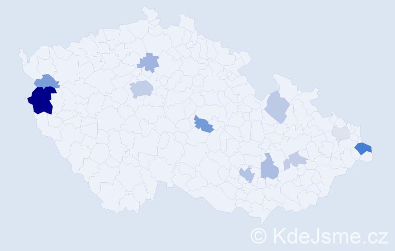 Příjmení: 'Klen', počet výskytů 29 v celé ČR