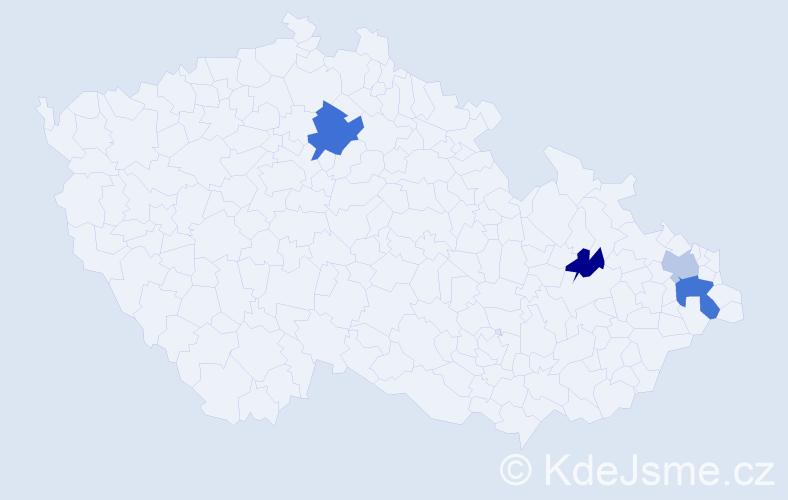 Příjmení: 'Gecse', počet výskytů 6 v celé ČR
