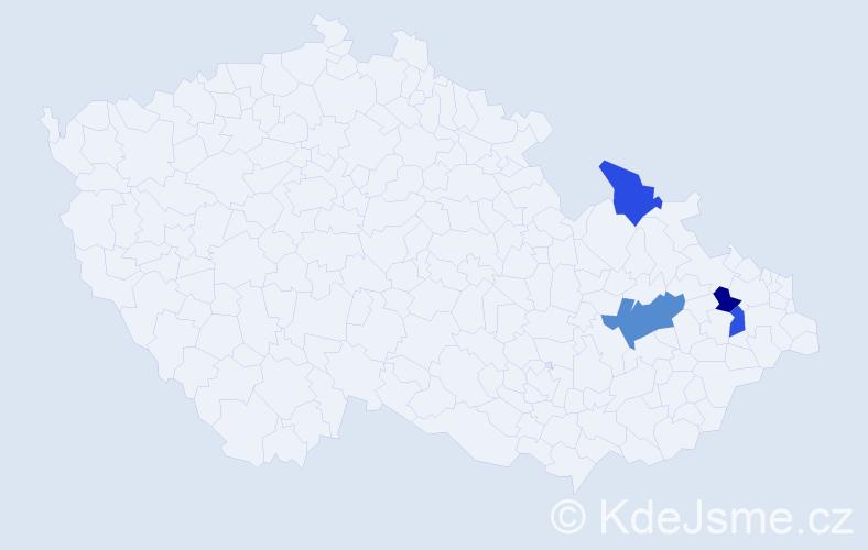 Příjmení: 'Činčiala', počet výskytů 5 v celé ČR