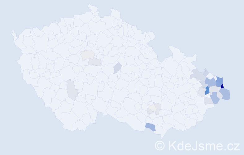Příjmení: 'Harok', počet výskytů 107 v celé ČR