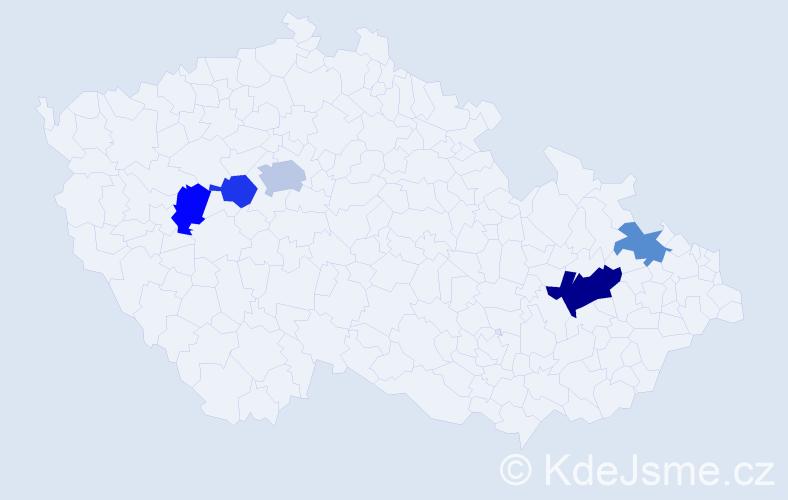 Příjmení: 'Lemrová', počet výskytů 8 v celé ČR