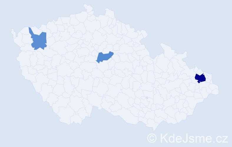 Příjmení: 'Brodi', počet výskytů 16 v celé ČR