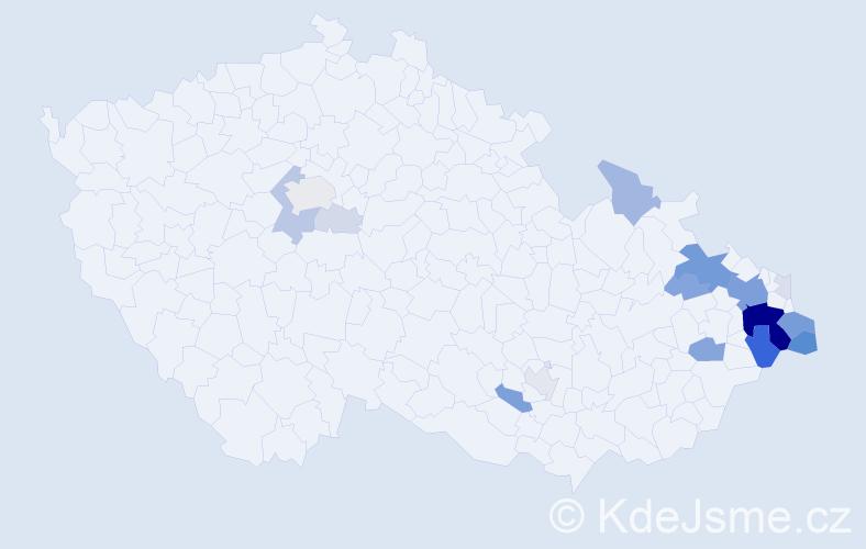 Příjmení: 'Dužík', počet výskytů 81 v celé ČR