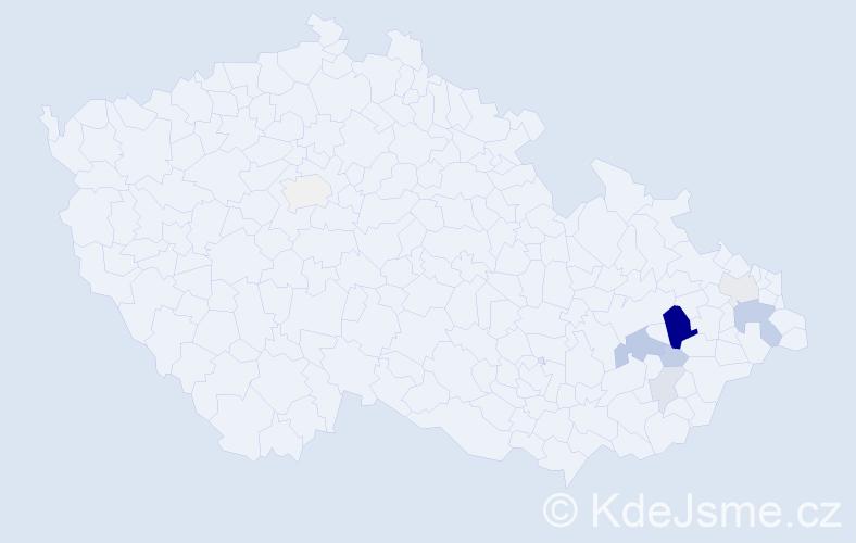 Příjmení: 'Čadra', počet výskytů 38 v celé ČR