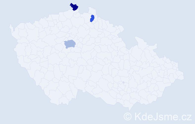 Příjmení: 'Hakimi', počet výskytů 5 v celé ČR