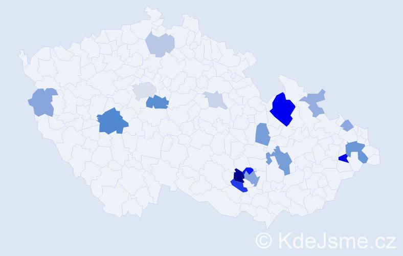Příjmení: 'Hvižďová', počet výskytů 47 v celé ČR