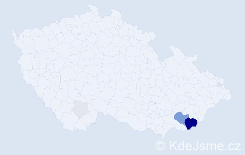 Příjmení: 'Habáník', počet výskytů 26 v celé ČR