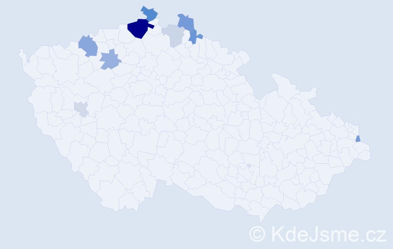 Příjmení: 'Czigányová', počet výskytů 19 v celé ČR