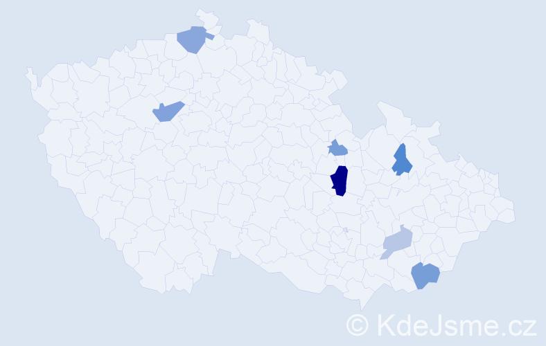 Příjmení: 'Civáň', počet výskytů 14 v celé ČR