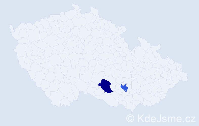 Příjmení: 'Gunčevová', počet výskytů 3 v celé ČR