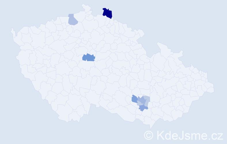 Příjmení: 'Hyttych', počet výskytů 18 v celé ČR
