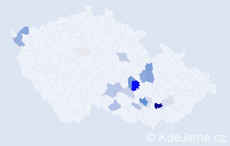 Příjmení: 'Korbička', počet výskytů 69 v celé ČR