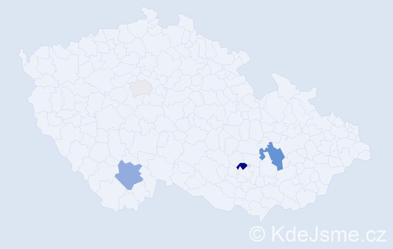 Příjmení: 'Hrádel', počet výskytů 8 v celé ČR