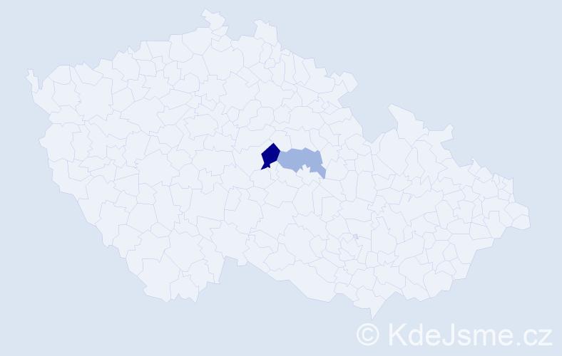 Příjmení: 'Kušenič', počet výskytů 3 v celé ČR