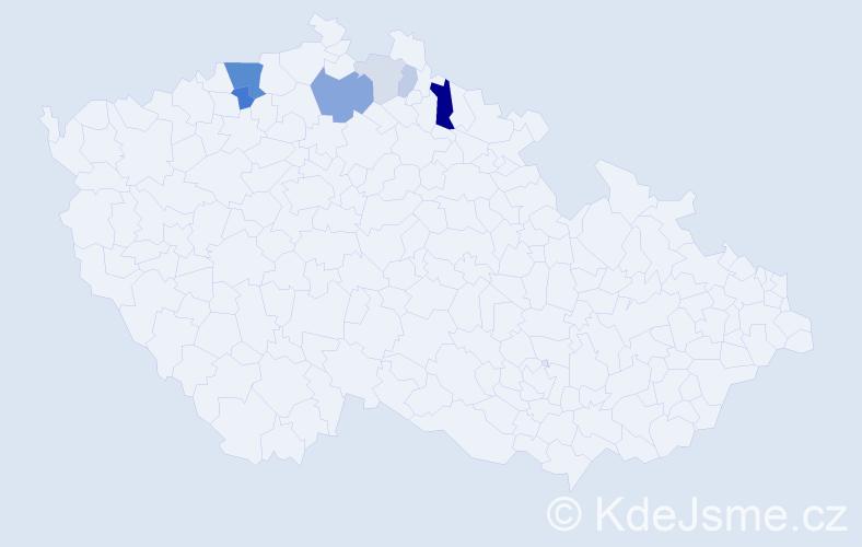 Příjmení: 'Lázo', počet výskytů 18 v celé ČR