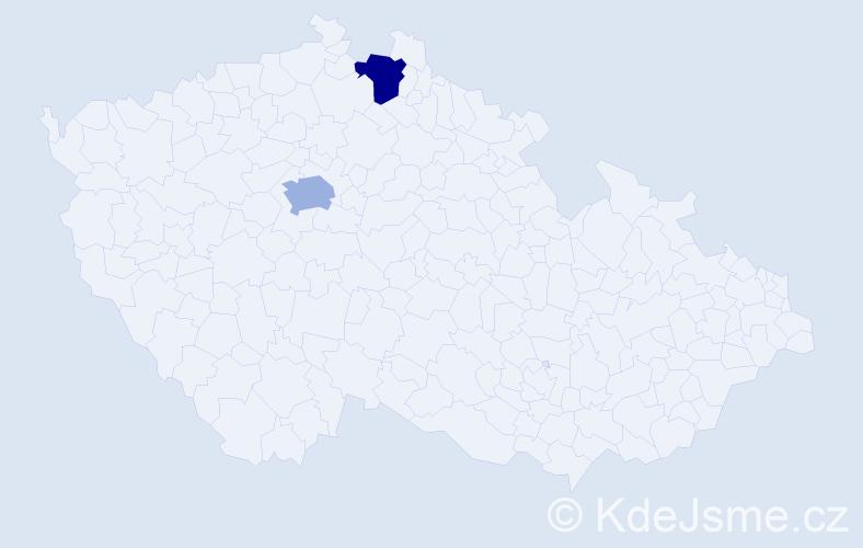 Příjmení: 'Kareis', počet výskytů 15 v celé ČR
