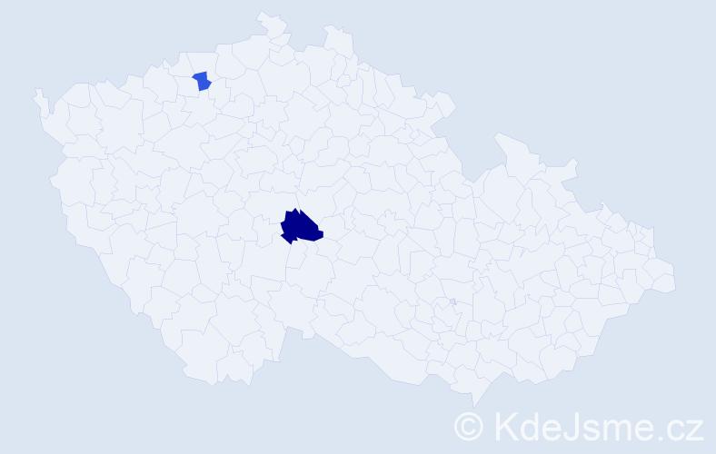 Příjmení: 'Čavdarov', počet výskytů 3 v celé ČR