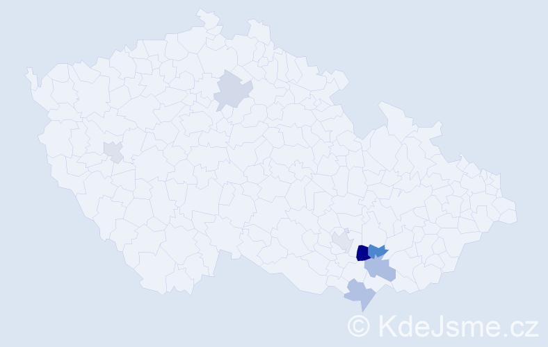 Příjmení: 'Čamlík', počet výskytů 24 v celé ČR