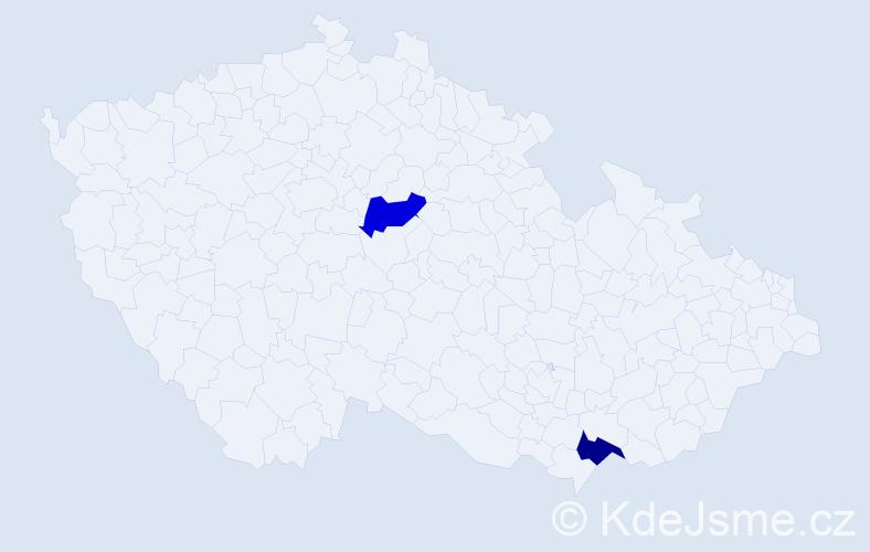 Příjmení: 'Čirák', počet výskytů 2 v celé ČR