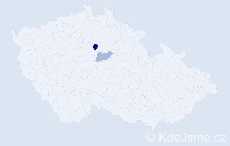 Příjmení: 'Čabay', počet výskytů 3 v celé ČR