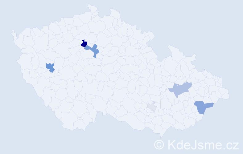 Příjmení: 'Chocholka', počet výskytů 18 v celé ČR