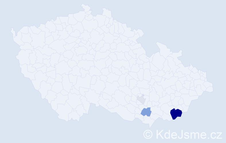 Příjmení: 'Hela', počet výskytů 16 v celé ČR