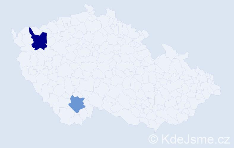 Příjmení: 'Kostourek', počet výskytů 3 v celé ČR