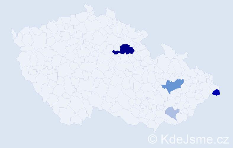 Příjmení: 'Baliar', počet výskytů 17 v celé ČR