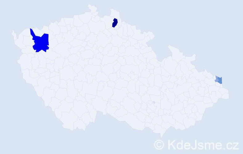 Příjmení: 'Kančíová', počet výskytů 17 v celé ČR