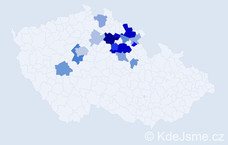 Příjmení: 'Etrych', počet výskytů 40 v celé ČR