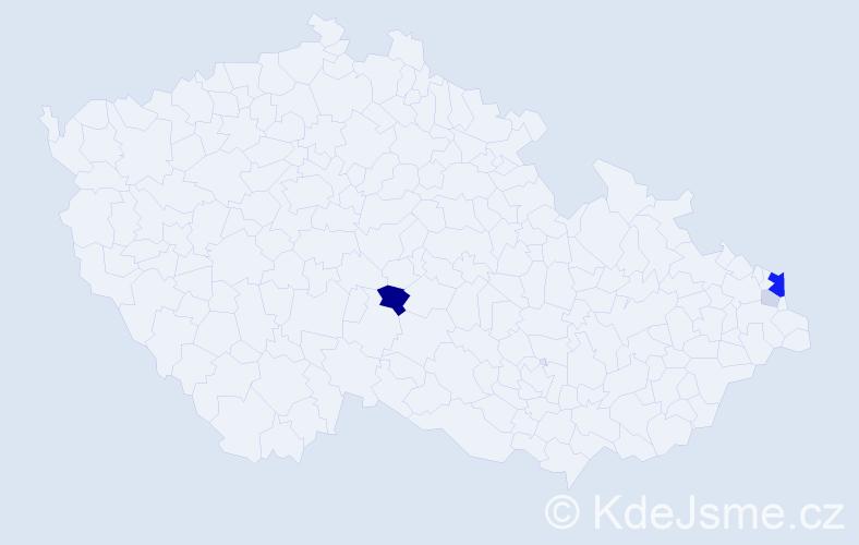 Příjmení: 'Ćmok', počet výskytů 13 v celé ČR