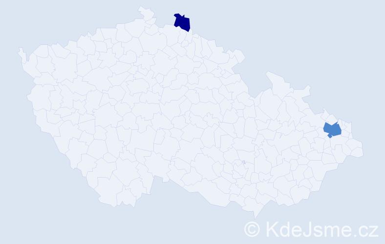 Příjmení: 'Golabová', počet výskytů 5 v celé ČR