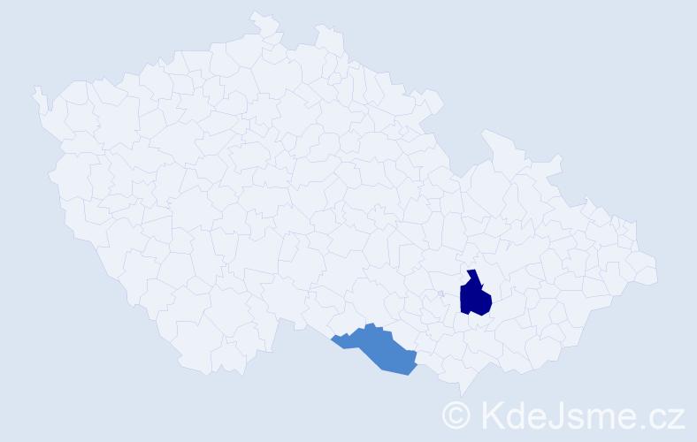 Příjmení: 'Janigáčová', počet výskytů 7 v celé ČR