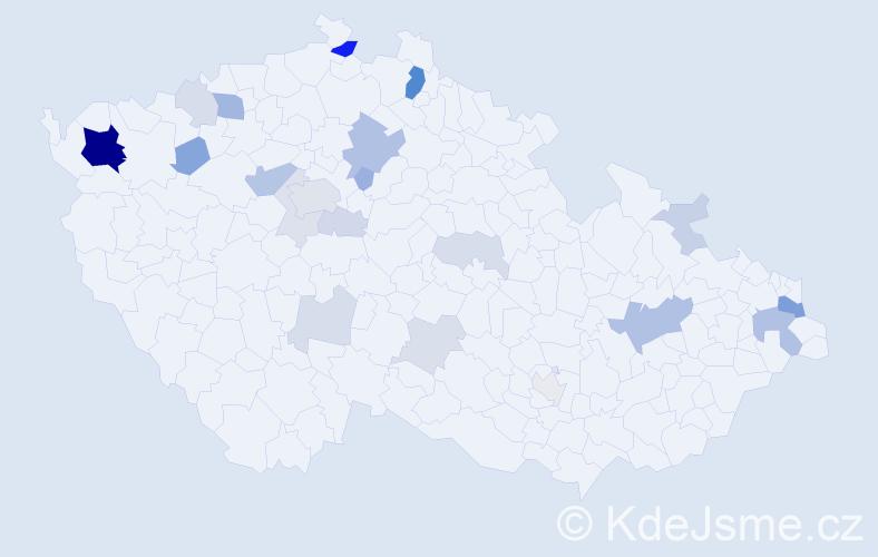 Příjmení: 'Hajdu', počet výskytů 71 v celé ČR