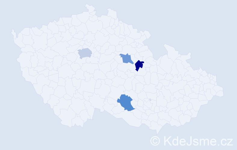 Příjmení: 'Halsbach', počet výskytů 5 v celé ČR