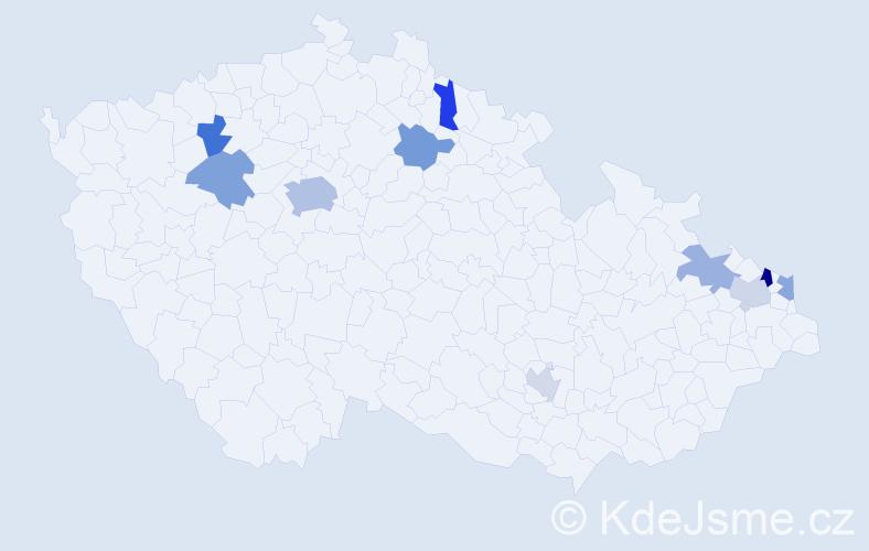 Příjmení: 'Árvay', počet výskytů 16 v celé ČR