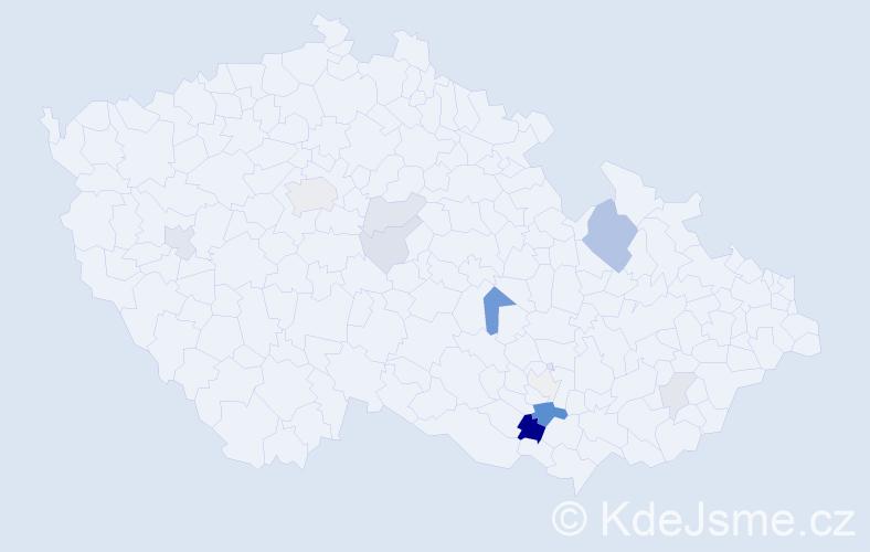 Příjmení: 'Haněl', počet výskytů 29 v celé ČR