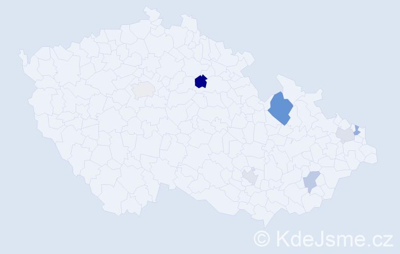 Příjmení: 'Andrysek', počet výskytů 10 v celé ČR